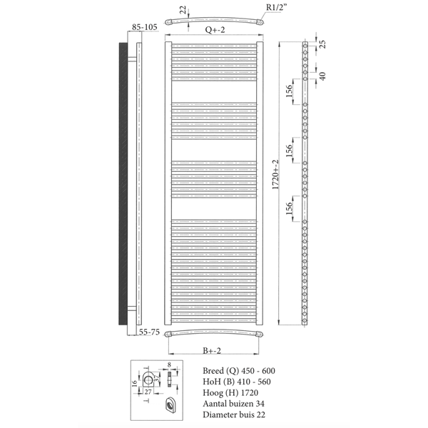 Super Versani design radiator 172 cm wit - Versani YW83